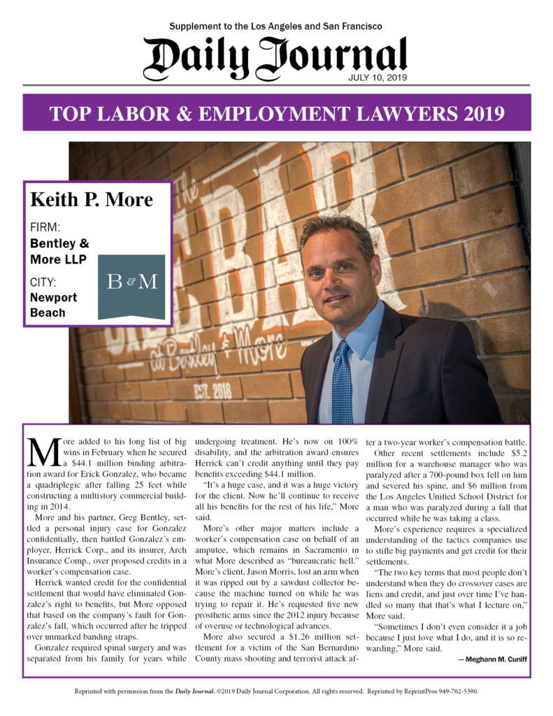 Daily Journal's Top Labor & Employment Lawyers 2019: Keith More